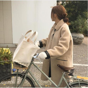 Hot Sale Large Shopping Bag Jumbo Canvas Totes Beach Bag Summer White Casual Totes 2019 INS Fashion Beige White Color drop shipping