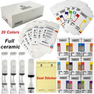 선택 vape 카트리지 전체 세라믹 카트 510 스레드 20colors vapes 0.5ml 프레스 씰 스티커 빈 오일 카트 홀로그램 포장 카트리지