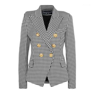 Liva Girl 2020 Moda Europea Casual Slim Fitness Metal Gold Button Jacket Blanco Black Khaki Colors Female Blazer1