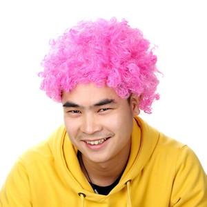 Parrucca Afro Pink Fancy Dress Riccio Uomo Donna Pagliaccio Capelli Discotecy Supporter W930