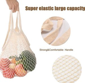 Shopping Grocery Bag Reusable Shopper Tote Fishing Net Large Size Mesh Net Woven Cotton Bags Portable Shopping Bags Home Storage Bag NWC4056