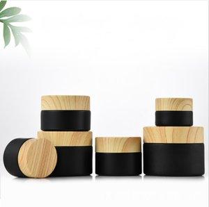 Черные матовые стеклянные банки косметика с лесоматериальными пластиковыми крышками PP Liner 5G 10G 15G 20G 30 50 г бальзам для губ Cream контейнеры