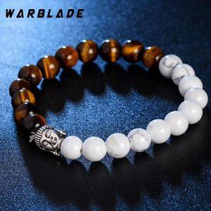 2020 New Natural Stone Lava Beads Bracelet Two-color Men Charm Buddha beads Bracelets Bangles Tiger eye Wristband For Women
