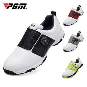 PGM Men Sports Shoes Rubber Soft And Comfortable Microfiber Leather Waterproof Shoes Rotating Laces Sneakers Golf Shoe