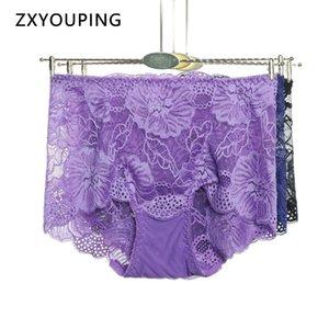 L-XXL Plus Size Lingerie Women Sexy Panties Lace Transparent Seamless Briefs High Waist Female Hollow Out Underwear Breathable