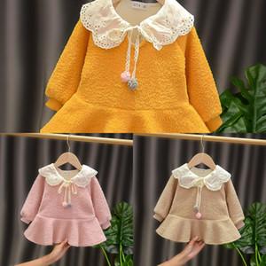 Halilo 1st Doğum Günü Elbise Için Bebek Kız Uzun Kollu Artı Kadife Kış Bebek Giyim Noel Prenses Kostüm Z1214
