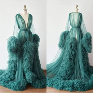 Chic Illusion Ruffles Tulle Long Sleeve Women Winter Sexy Kimono Pregnant Green Party Sleepwear Bathrobe Sheer Nightgown Robes Shawl