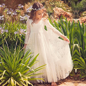New Beach Flower Girl Dresses White Ivory Boho First Communion Dress For Little Girl V-Neck Long Sleeve A-Line Cheap Kids Wedding Dress A25