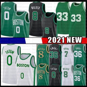 Jayson 0 Tatum Kemba 8 Walker 33 2021 New Basketball Jersey Men's Youth's Youth Kid's Jaylen 7 Brown Marcus 36 Smart Green Green Blanco Blanco Camisetas