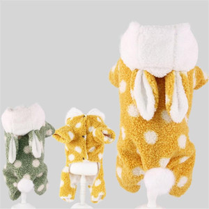 Plush Dog Clothes Funny Pet Hooded Coat Ears Puppy Four-legs Hoodies Outfit Winter Warm Doggy Fleece Clothing