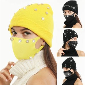 hat and mask set crystal diamond shiny hat with face mask Winter Knit Beanies Hat Thick Warm Mask Caps Women Windproof Ski Cap E112104