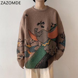 ZAZOMDE Cartoon elephant Print Crew Neck Sweater Men and Women High Street Pullover Knitted Sweaters Oversize Casual Top
