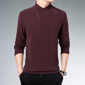 Men's Fleece Long-sleeve T-shirt 2020 Solid Color Fleece Half-high Collar Bottoming Shirt Soft Warm Men's Clothing