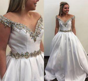Off The Shoulder A Line Wedding Dresses 2021 Sparkle Rhinestones Beaded Elegant Satin Bridal Gowns Plus Size Sweep Train Vestidos AL7840