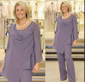 Light Purple Mother Of The Bride Pant Suits Long Sleeve Plus Size Chiffon Plus Size Evening Dress for Wedding Guest Cheap