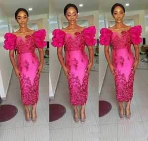 2021 New African Fuchsia Prom Dresses Bateau Off Shoulder Lace Appliques Sheath Tea Length Black Girl African Formal Evening Pageant Gowns