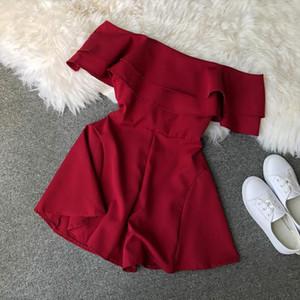 Candy Color Elegant Jumpsuit Women Summer 2020 Latest Style Double Ruffles Slash Neck Rompers Womens Jumpsuit Short Playsuit