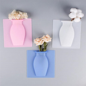 Silicone Vases Magic Suction Cup Creative Wall Decor Vases Fridge Wall Hanging Soft Reusable Vase Pots Bottle Flowers Home Decor EEB4249