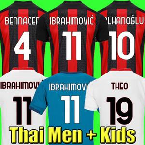 20 21 maillot de football AC milan 2020 maillot de football 2021 enfants IBRAHIMOVIC PAQUETA BENNACER REBIC ROMAGNOLI CALHANOGLU TONALI