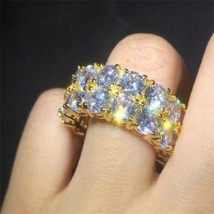 Hip Hop Iced Out Ring Micro Pave CZ Stone Tennis Ring Men Women Charm Luxury Jewelry Crystal Zircon Diamond Gold Silver Plated Wedding . b62