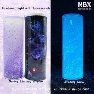 NBX Shine Luminous Pencil Case Bling Bling Quicksand Multifunctional Pen Box Home Office Organization Marker Storage Calculator Z1123