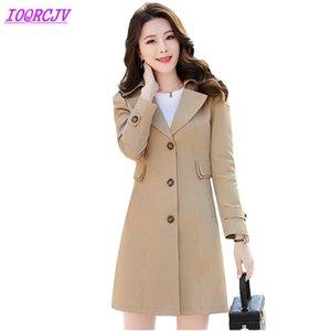 Boutique Trench Coat Women 2020 Primavera Autumn Drentkromes para mujer más Tamaño Slim Abrigo Longitud media Dama Top Ioqrcjv H304
