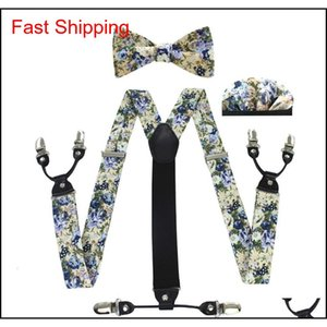 Fashion Suspenders Bow Tie Pocket Scarf Set Cotton Flower Sling Men And Women Qu qylbnB homes2007
