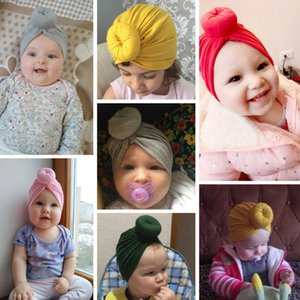 Caps Donut Cap Bambini Colore Primavera Colore Indiano Baby Autunno Cappello Turban Solido Toddler Haiband Cute Knot Ball Ball Unisex Cotton Infant YHM391 TFWQQ