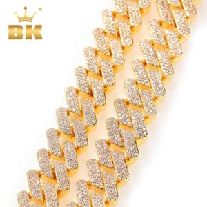 La Bling King Factory 18mm 3Row CZ Cuban Link Collier Gold Prestige Cuivre Micro Pavé Stones Cuker punk bijoux Chine Q1129