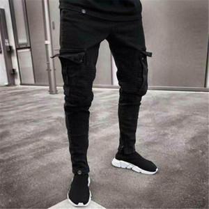 남성 바지 패션 스트레치 찢어진화물 주름을 찢어진 남성 멀티 포켓 스키니 피트 블랙 전투 데님 연필