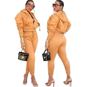 Designer Tracksuits New Solid Color Thick Hooded Sweatshirts Sport Woman 2 Piece Set Autumn Winter Womens