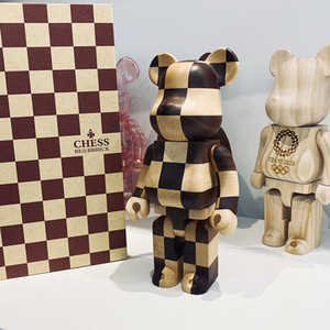 28CM 400% Wooden Chess BE@ Bearbrick Movable Joint Chessboard Lattice Wooden Doll Decorations Décor Tabletop Ornaments Garage Kit