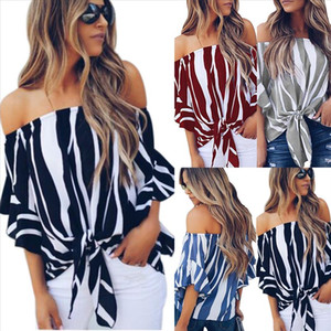 2020 New Sexy Women Off Shoulder Blouses Striped Shirts Summer Short Sleeve Tops Casual Fashion Bow Blusas Mujer Tops