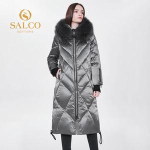 Salco 2020 La última chaqueta larga de Piel de Animal Natural Piel del 90% más vendida, chaqueta caliente Q1215