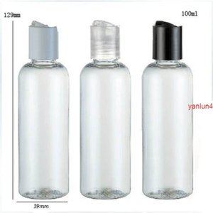 24 x 100ml Clear New Fashion DIY PET Round Shoulder Cosmetic and Lotion Bottle with Disk Cap packagingfree shipping by