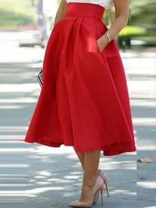 Fashion Ladies High Waist Pleated School Skirt Mid-Calf Female Autumn Solid Bud Skirts Bow Wearings