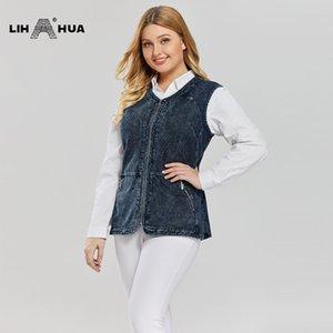 LIH HUA Women's Plus Size Casual Denim Vest stockinet high flexibility Casual jeans Vest Knitted Denim OL Style