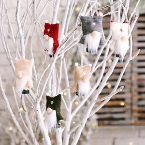 Sin rostro Santa Claus Muñeca Colgante Viejo hombre del bosque con la bola doble gorra Decoración de árbol de Navidad adornos de peluche regalo de niño