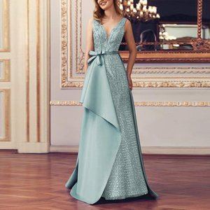 Women Formal Prom Party Ball Gown Sexy Sleeveless Backless Long Dresses V Neck Dress Party Formal High Waist Lace Maxi Dresses F1130