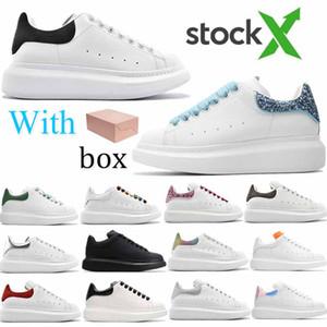 Piattaforma per feste Scarpe casual casual Black Velvet in vera pelle da sneakers da uomo Donne moda riflettente bianco colorato lacci scarpe chaussures