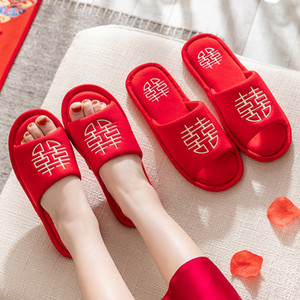 Chinese Style Wedding House Couples Slippers Lucky Red Embroidery Cotton Bedroom Ladies Flat Shoes Indoor Lovers Women Slippers