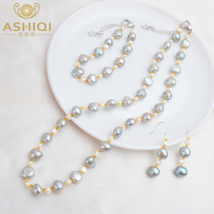 ASHIQI Natural Baroque pearl Jewelry Sets Real Freshwater Pearl Necklace Bracelet 925 Sterling Silver Earrings Women New Arrival F1219