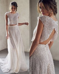 Crystal Sequins Evening Dresses Two Piece Sexy Back Sweep Train Prom Dress Formal Gowns Party Wear