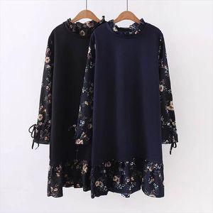 4XL 5XL Plus size Autumn Winter Floral Print Dress Women Casual Printing Loose Dress Femme Long Sleeve Large Size Black Dresses