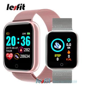 Lesfit Pink Smart Wristband Women Wrist Watch Men Sport Watch Bluetooth Android Lady Bracelet Clock Pedometer HR Fitness Tracker LJ201205