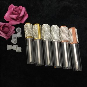 25 50 100pcs Transparent Lip Gloss Wand Tubes 5ml Rose Gold Silver Rhinestone Diamond Cap Round Clear Lipgloss Makeup Container