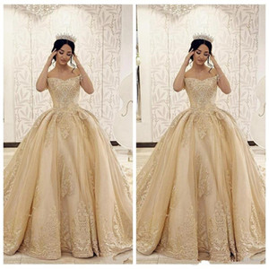 Off Shoulder Gold Lace Appliques Ball Gown Wedding Dresses 2021 Formal Middle East Vestidos De Bridal Gowns Customized Dubai Wedding Wear