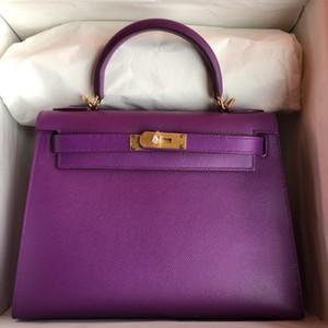 Whosale Handmade Handmade 28 cm Epsom in pelle Purple Design Design Design Filettatura di cera Avere sia hardware in oro che argento, contattami per lo sconto