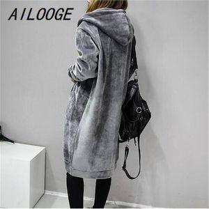 AILOOGE 2020 Outono Nova Abrir Velvet Mulheres com capuz básico Coats jaqueta casual Lady Longo Inverno Moda Preto Inverno Jacket Mulheres
