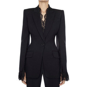HIGH QUALITY Office Ladies Blazer Jacket Female 2020 Autumn Winter New Split Lace Sleeves One Button Black White Women Blazer